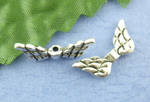 15 Silver Angel Wing Charms  9 x 20mm